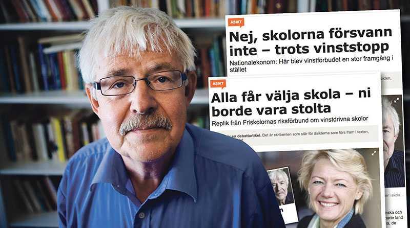 Ulla Hamilton förefaller inte kunna läsa innantill. Ingenstans i min artikel spekulerar jag i hur antalet skolor i Sverige kan tänkas påverkas av ett vinstförbud, skriver Stefan de Vylder.