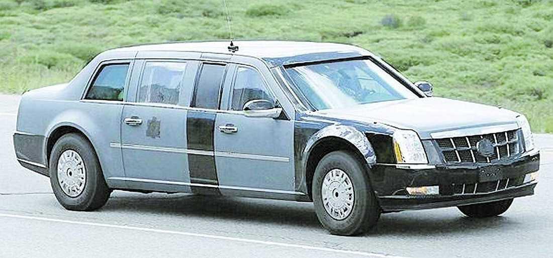 Cadillaclimousinen, byggd av General Motors, kostar 3,5 miljoner kronor och är ett under av säkerhetsdetaljer.