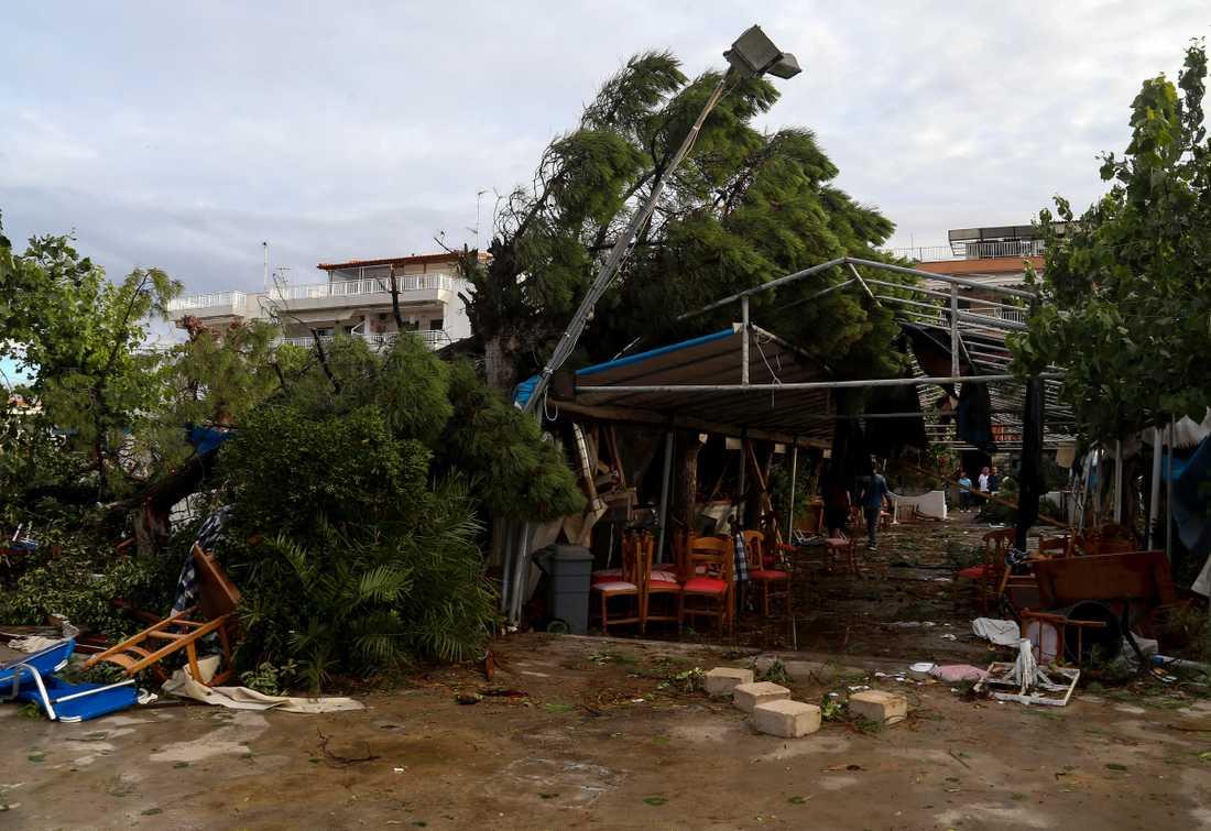 Nea Plagia i norra Grekland drabbades av stormen