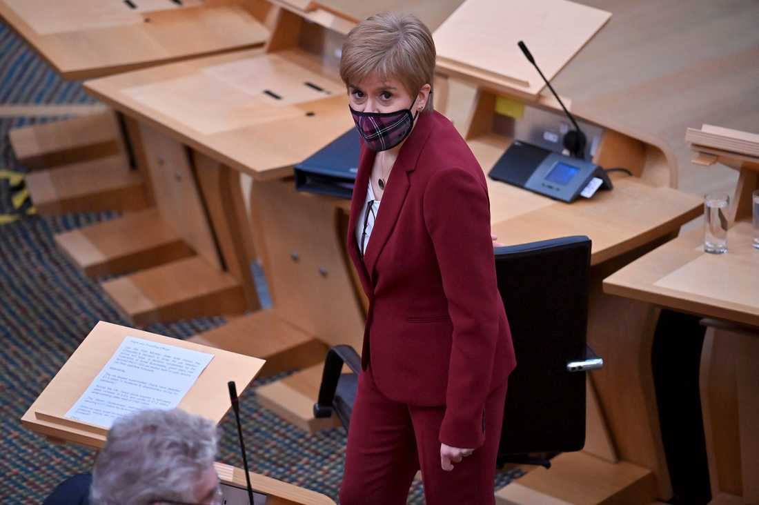 Skottlands regionala regeringschef Nicola Sturgeon i det skotska parlamentet i Edinburgh i förra veckan.