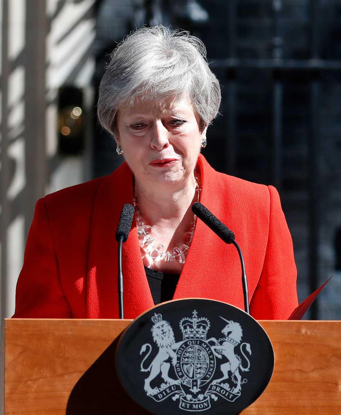 """""""Jag har gjort mitt bästa"""", sa Theresa May under talet där hon meddelade sin avgång."""