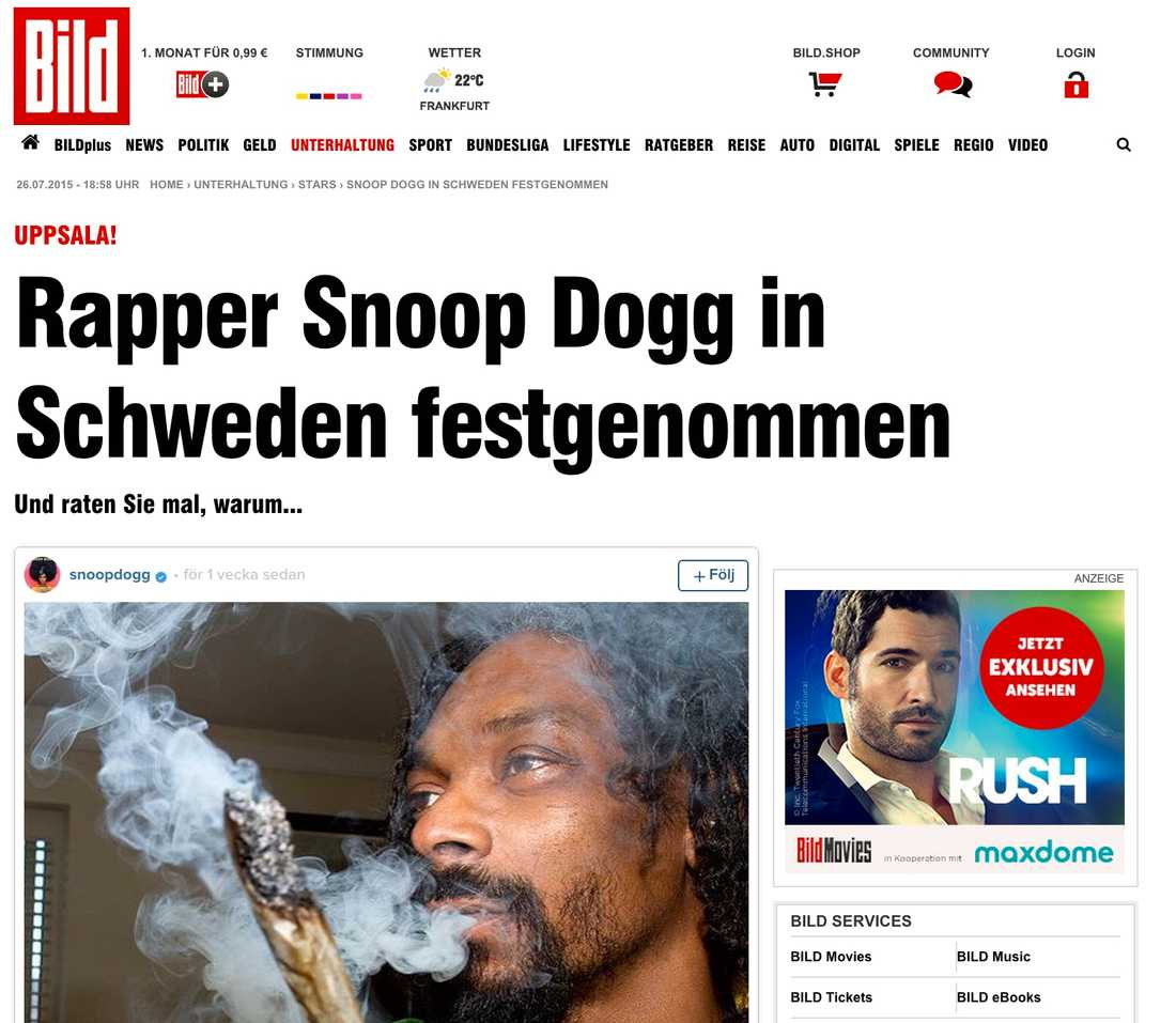 Tyska Bild Rapparen Snoop Dogg fast i Sverige