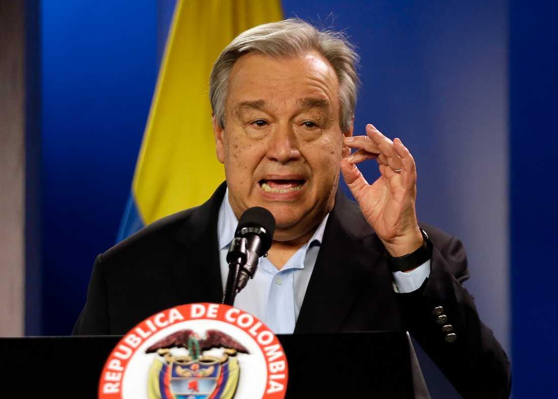 FN-chefen António Guterres välkomnar den colombianska ELN-gerillans beslut att tillfälligt lägga ned vapnen. Arkivbild.