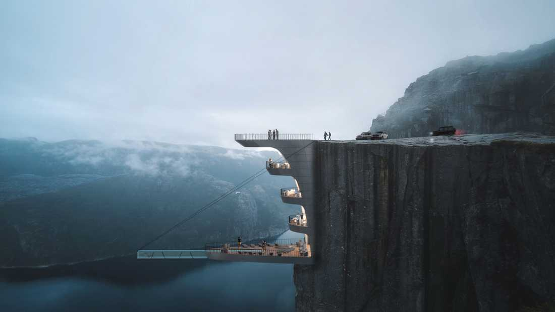 Hotellet ser ut att hänga rakt ut från klippan.