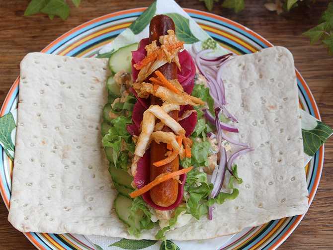 Klassiker blir vegansk: Tunnbrödsrulle med kimchi.