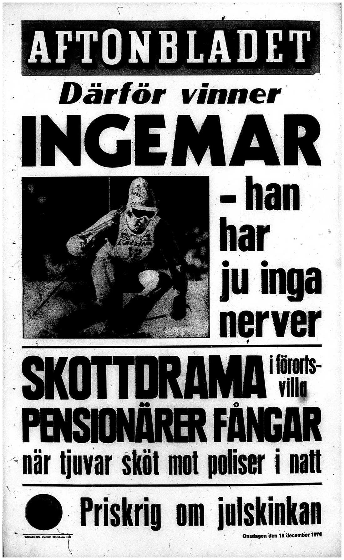 Aftonbladets förstasida dagen efter Stenmarks seger
