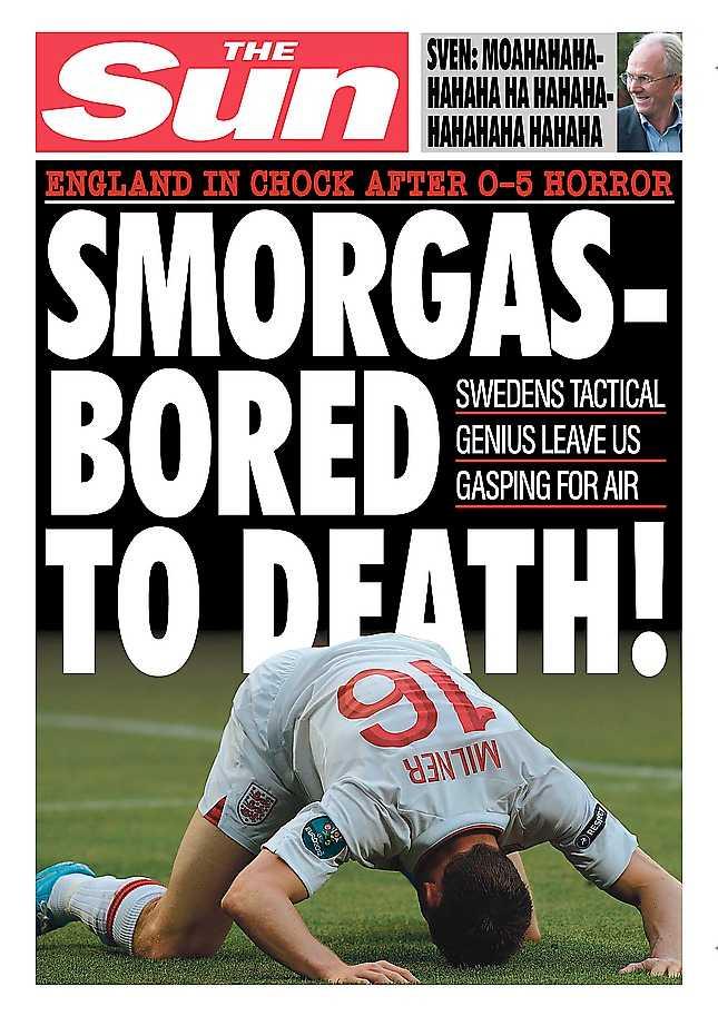 Så här hoppas vi att de engelska tidningarna ser ut på lördag.