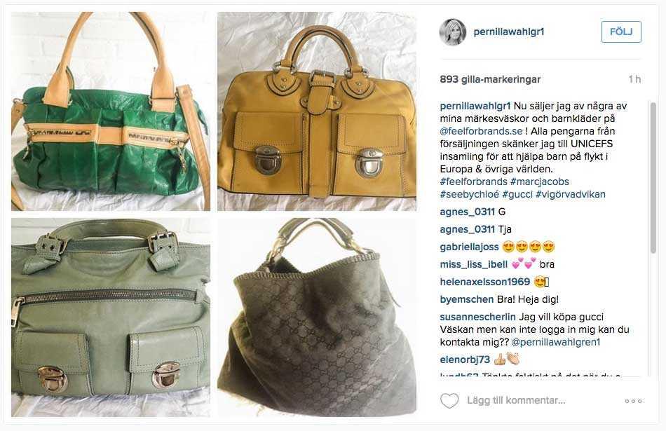 På sitt Instagram har Pernilla Wahlgren lagt upp några av väskorna som nu är till salu.