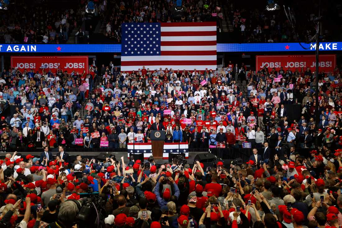 USA:s president Donald Trump talar i Grand Rapids i Michigan tidigare i våras.