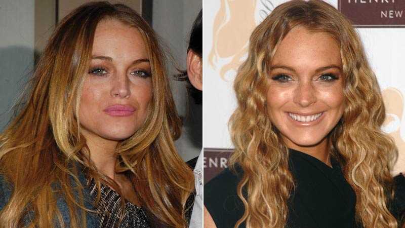 Nu – och då Lindsay Lohan visade upp en ny form på läpparna på New York Fashion Week (till vänster). Hennes förra look (till höger).