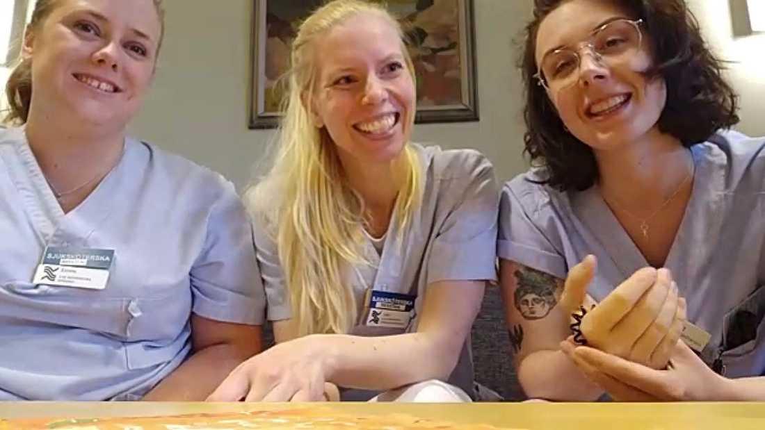Kollegorna Emma Berggren, Sofia Frank och Anna Berglund på Gävle sjukhus.