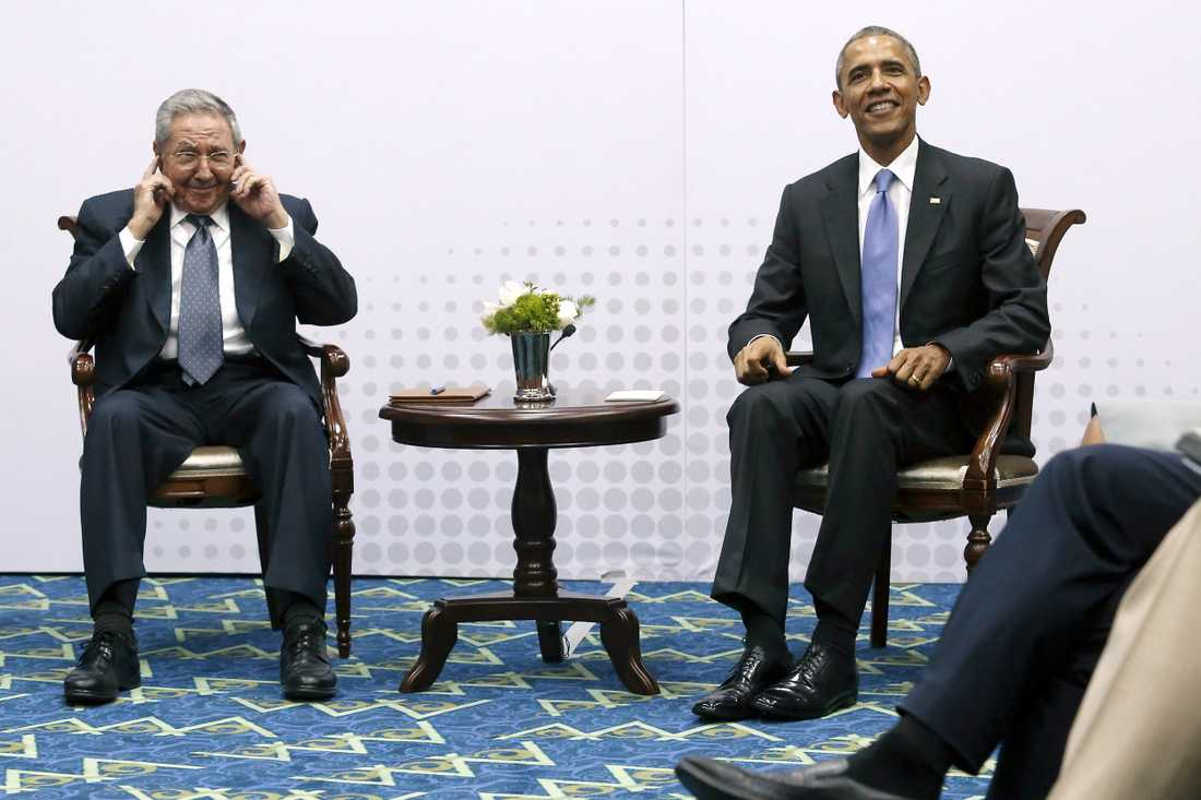 Barack Obama och Raul Castro i Panama City, Panama i april.