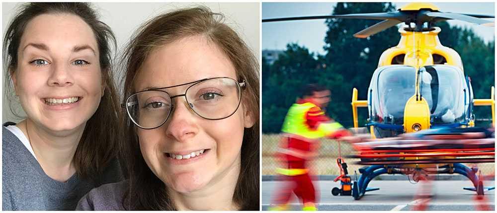 Rebecca Rocksten räddade livet på sin syster Katrin Rocksten som slutade andas ombord på en kryssning till Riga.  Bilden på helikoptern är en genrebild.