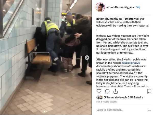Vakterna tryckte den gravida kvinnan mot en bänk efter att tumult uppstått vid en biljettkontroll.