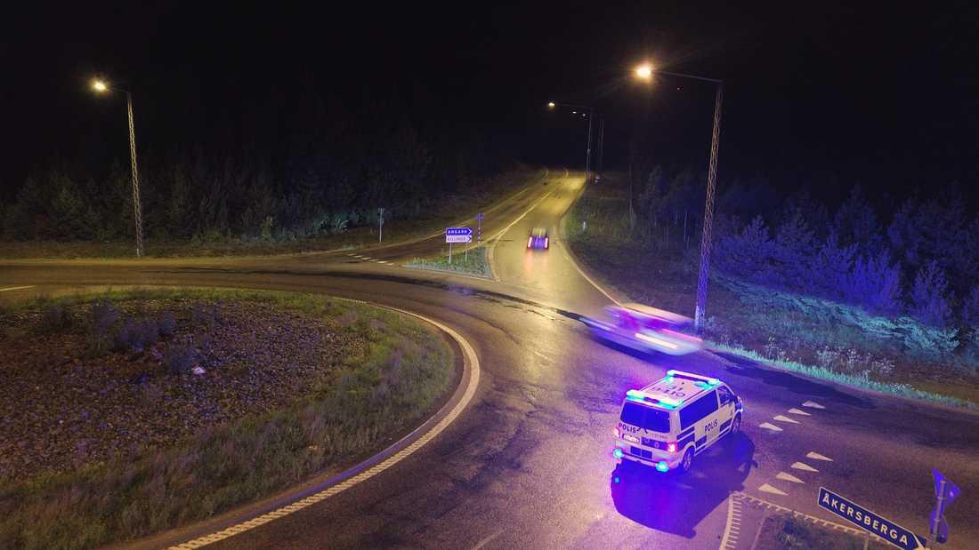 Polispatrull i Åkersberga i natt.