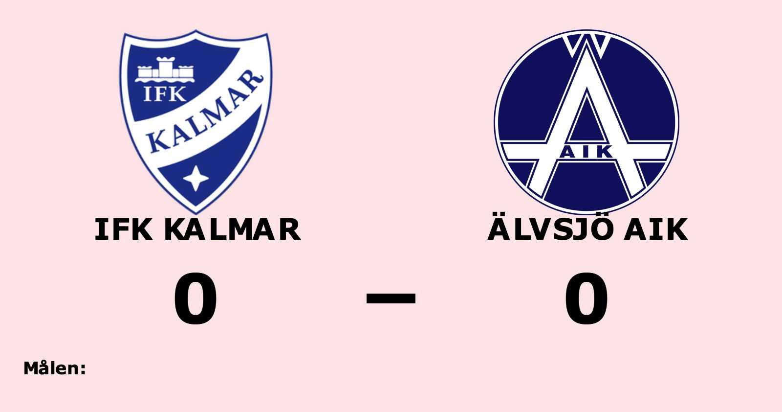 Mållös match när IFK Kalmar mötte Älvsjö AIK