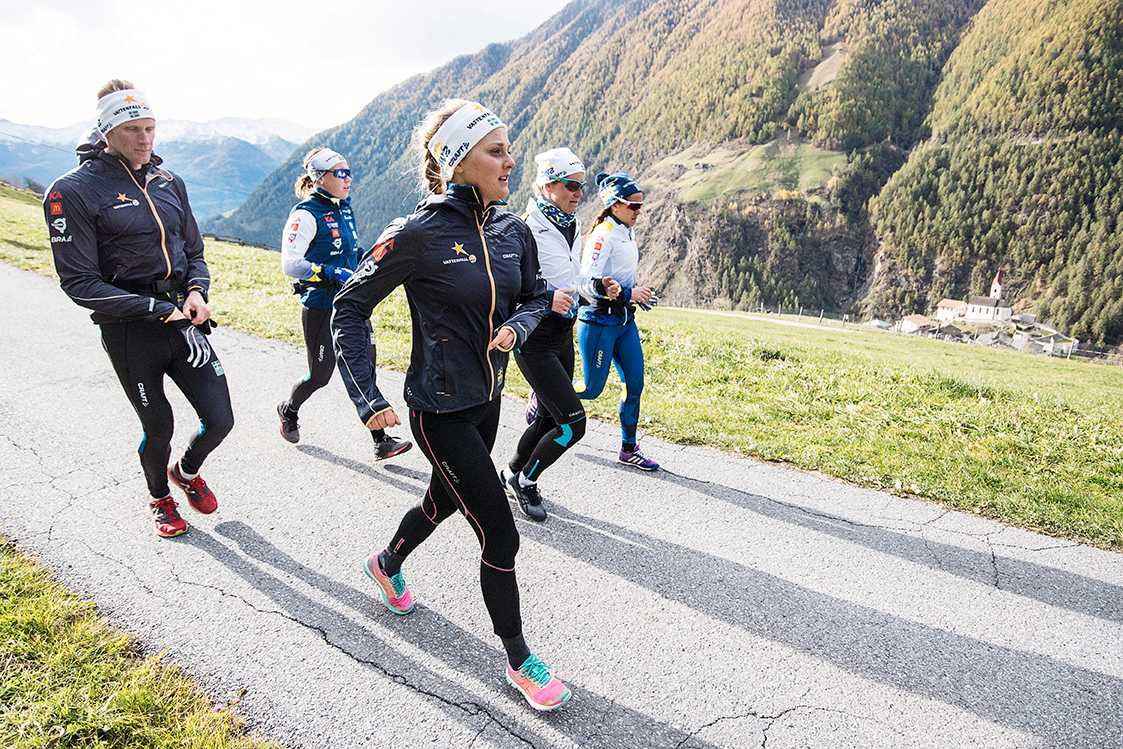 """""""Gänget"""" ute på en löptur i alpbackarna."""