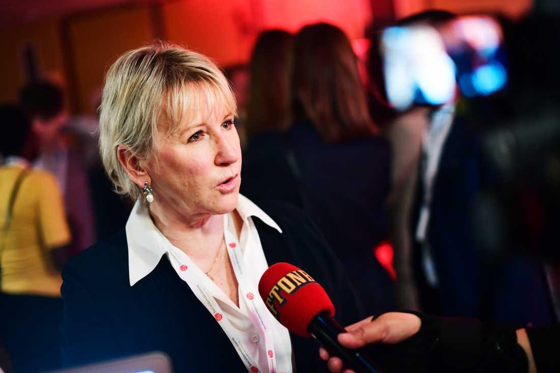 Utrikesminister Margot Wallström intervjuas.
