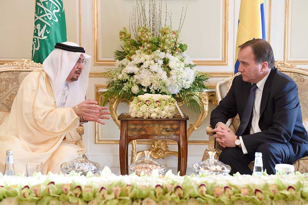 Statsminister Stefan Löfven träffade på söndagen vice utrikesminister  Nizar bin Obaid Madani i Saudiarabiens huvudstad Riyadh.