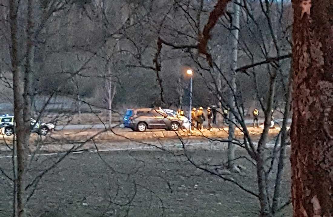Bild från när Rakhmat Akilov greps i Märsta.