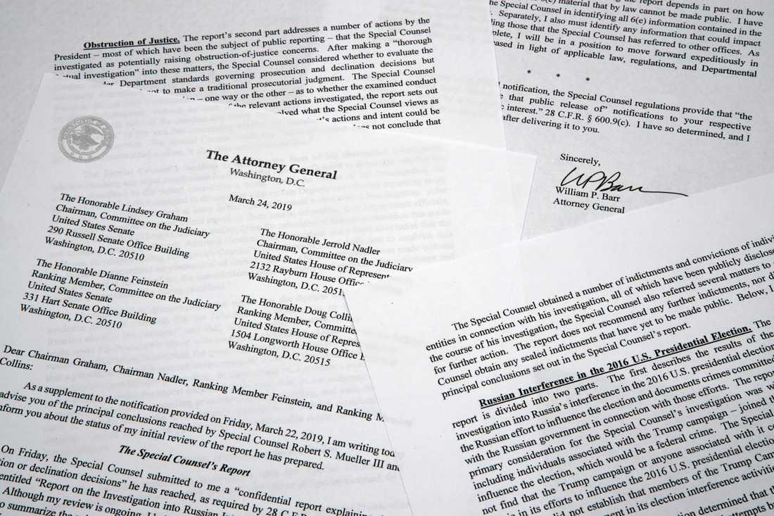 Brevet som justitieminister William Barr lämnat till kongressen om slutsatserna i Muellerutredningen.