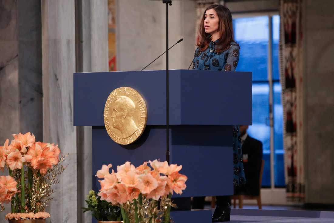 Den yazidiska människorättsaktivisten och fredspristagaren Nadia Murad från Irak håller tal.