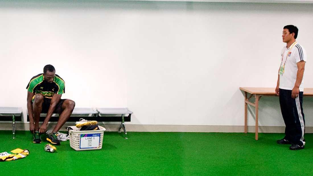 Det var en nedstämd och mycket besviken Bolt som bytte om i ett av omklädningsrummen.