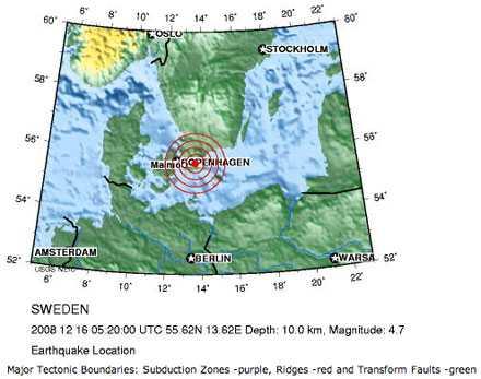 Epicentrum i södra Skåne Skalvets centrum låg i sydöstra Skåne, nio kilometer norr om Ystad. Men vittnen från Boråstrakten, Blekinge och Köpenhamn har märkt av skalvet.