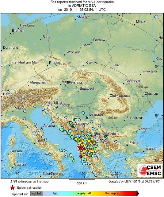 Skalvet ska ha känts i grannländerna Italien och Grekland.