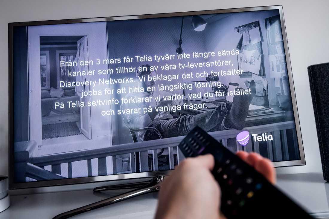 Discoverys kanaler har släckts för cirka 770 000 Teliakunder.