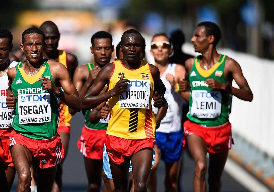 Wilson Kipsang Kiprotich kunde inte hålla silvermedaljören Yemane Tsegays tempo hela vägen.