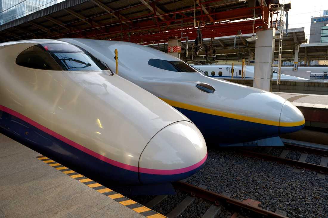 Höghastighetståget Shinkansen i Japan.