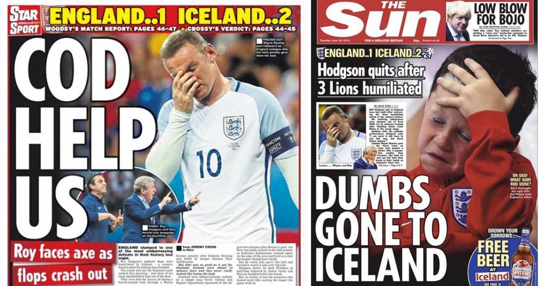"""Daily Star anspelar på """"Torskkriget"""" och The Sun har Wayne Rooneys son på framsidan."""