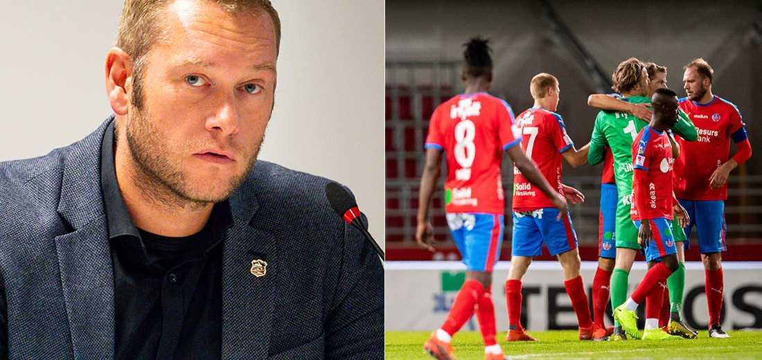 Klubbdirektören Joel Sandberg kritiseras.