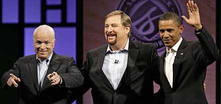 sågs hos pastorn McCain och Obama möttes för en första debatt hos populäre pastorn Rick Warren.