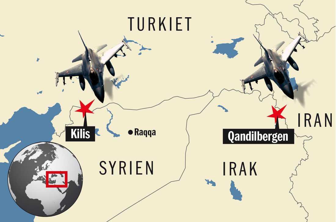 Turkiska flygplan har gått till attack mot mål i både norra Syrien och norra Irak. Grafik: FREDRIK PERSSON