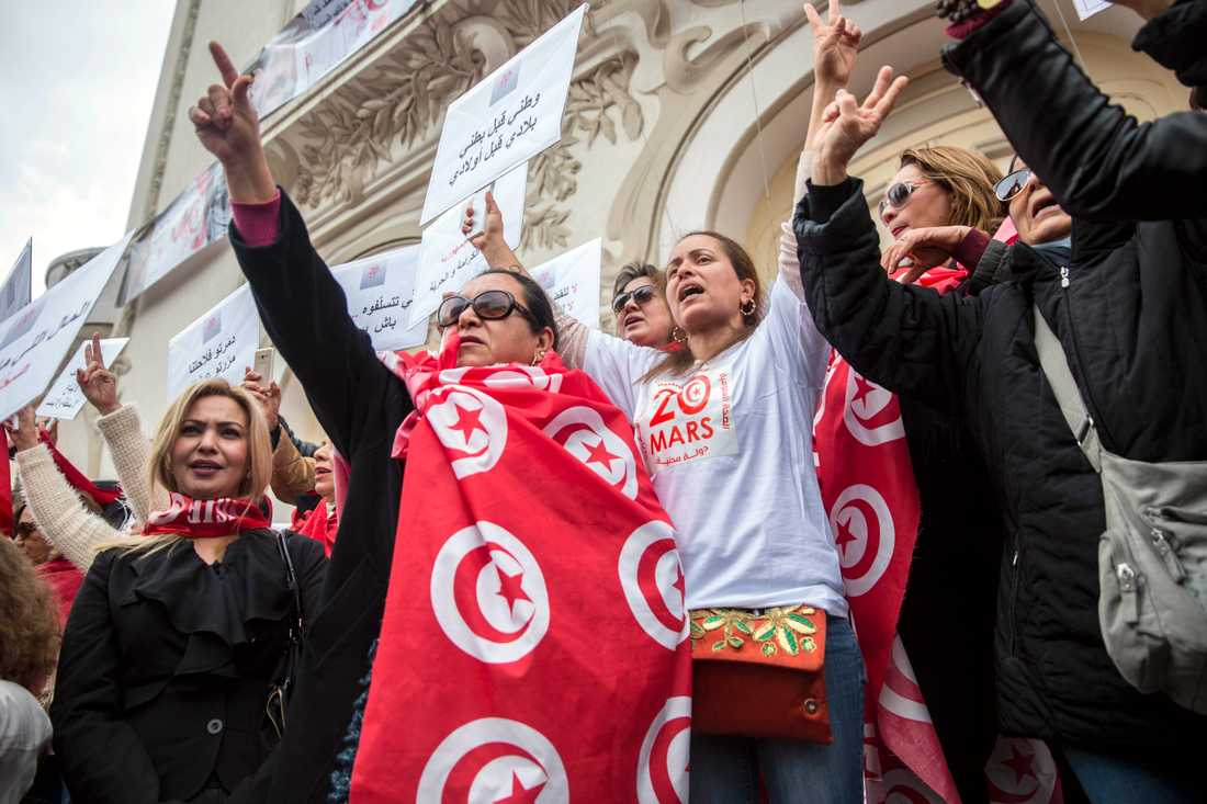 Demonstranter kräver reformer under firandet av Tunisiens självständighet den 20 mars i år.