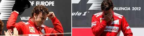 Alonso var påtagligt berörd vid prisceremonin.