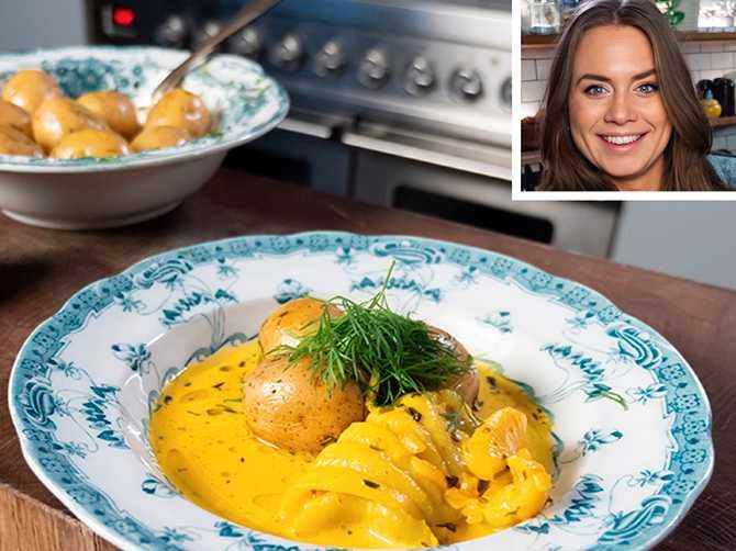 Sofia Henrikssons middagstips: Rödspätta med saffranssås och smörslungad potatis.