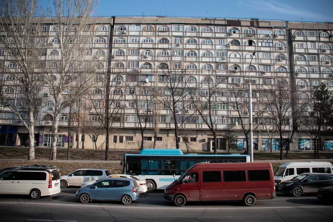 Rusningstrafik i centrala Bisjkek.