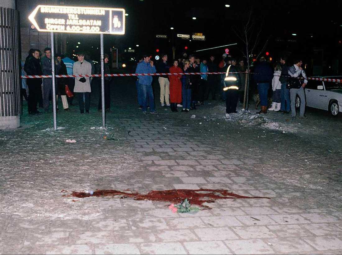 Mordplatsen på Sveavägen i Stockholm natten då Olof Palme sköts till döds.