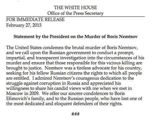 Obamas uttalande om Nemtsov.