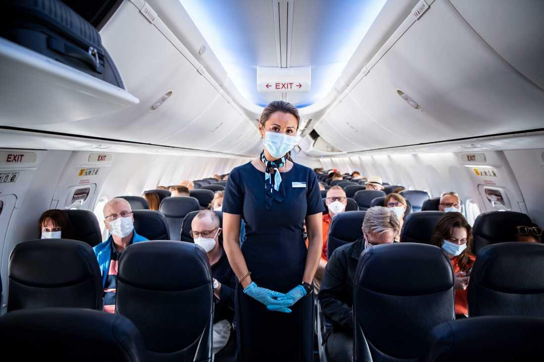 Flygvärdinna med munskydd och plasthandskar ombord på planet.