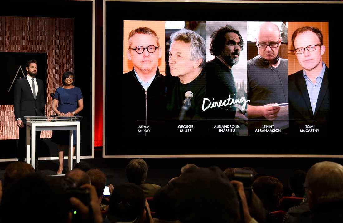 John Krasinski och Cheryl Boone Isaacs presenterar de nominerade för bästa regi till Oscarsgalan