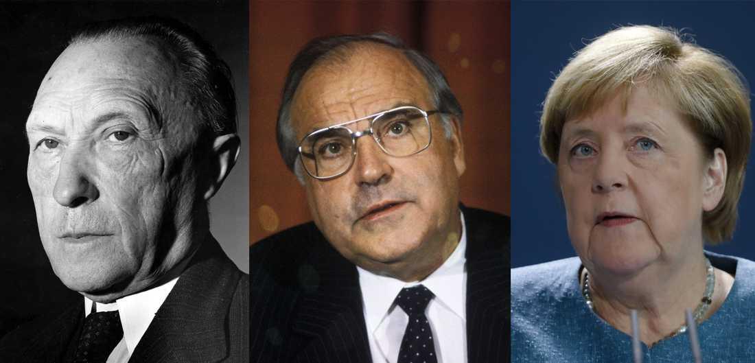 Långvariga förbundskanslerer. Från vänster till höger Konrad Adenauer, Helmut Kohl, Angela Merkel. Arkivbild/Montage.