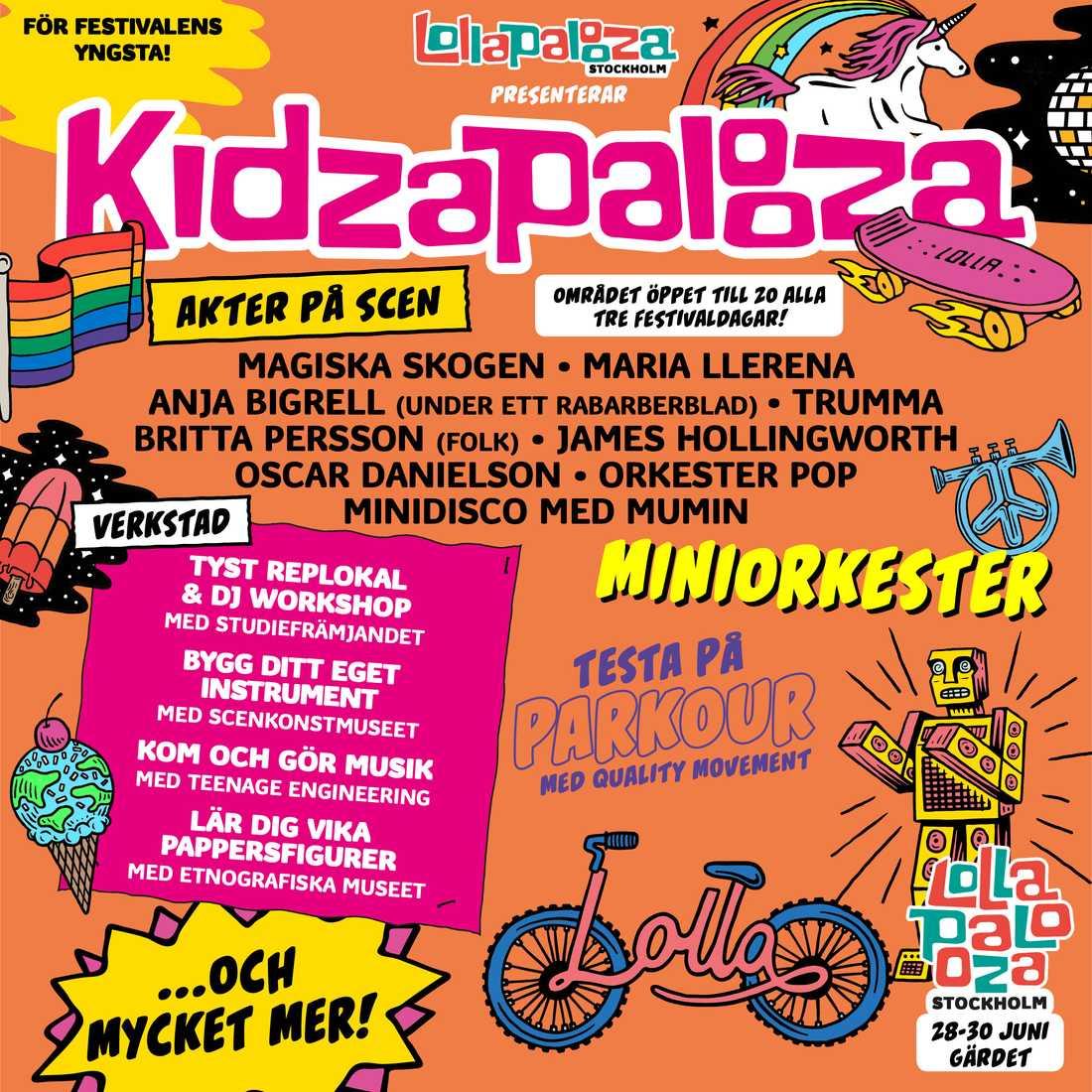 Programmet för Kidzapalooza.