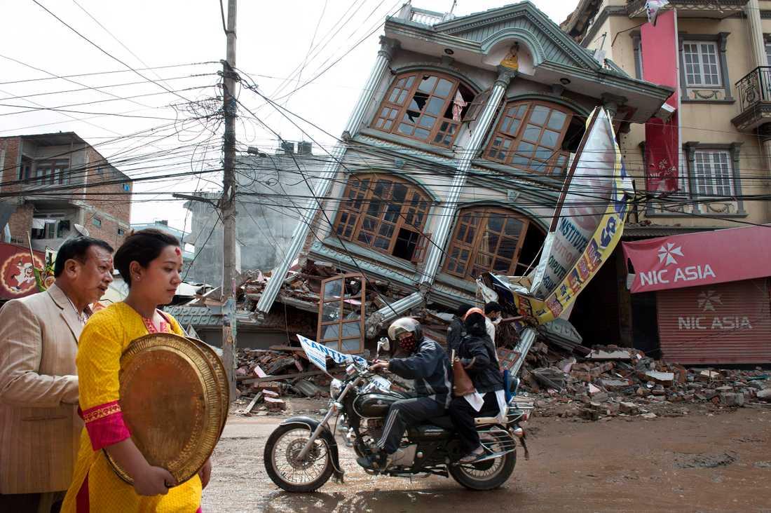 Nepals huvudstad Kathmandu efter jordbävningen.