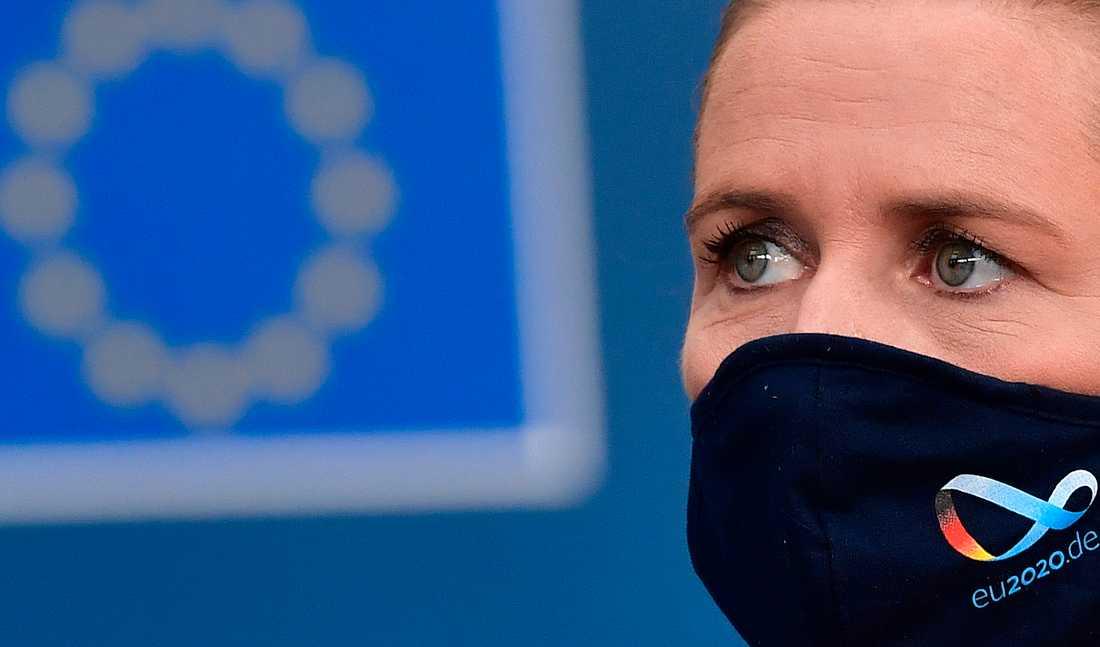 Danmarks statsminister Mette Frederiksen under ett EU-möte i Bryssel i juli. Arkivbild.