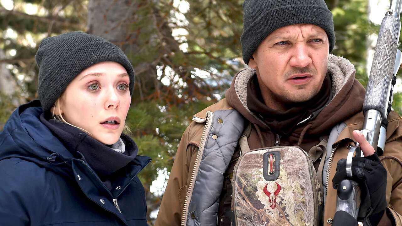 "Elizabeth Olsen och Jeremy Renner i ""Wind river""."
