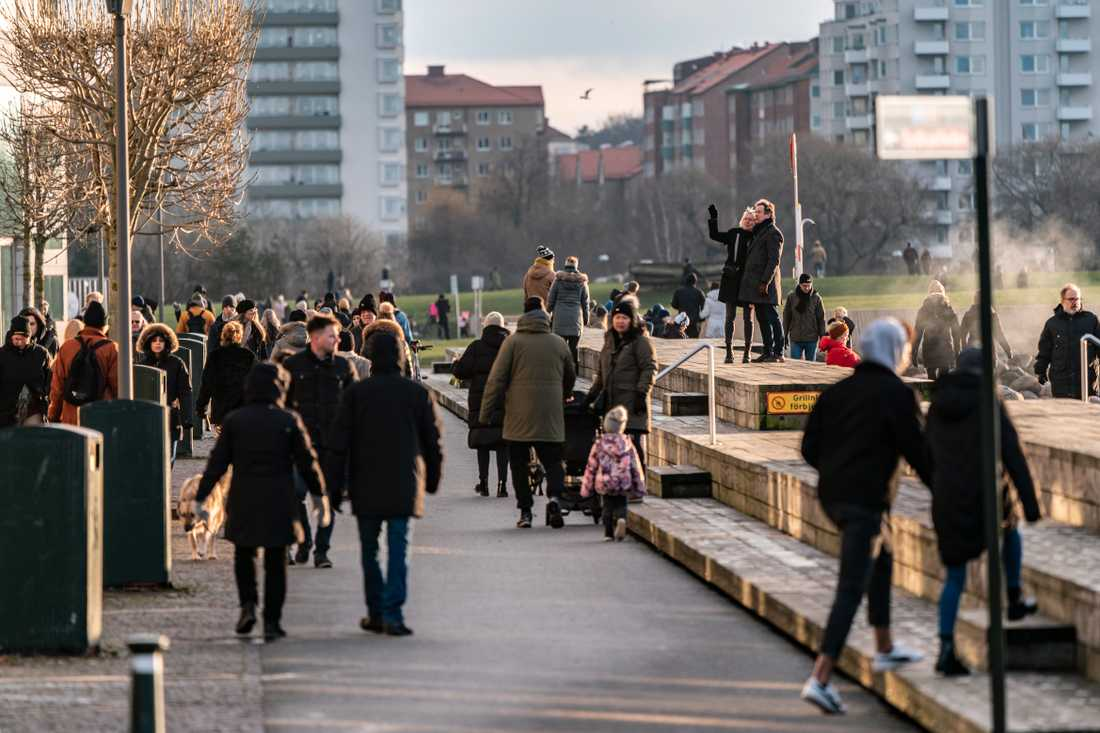 Många Malmöbor var ute i solskenet i Västra Hamnen förra lördagen. Även denna lördag väntas bli solig.